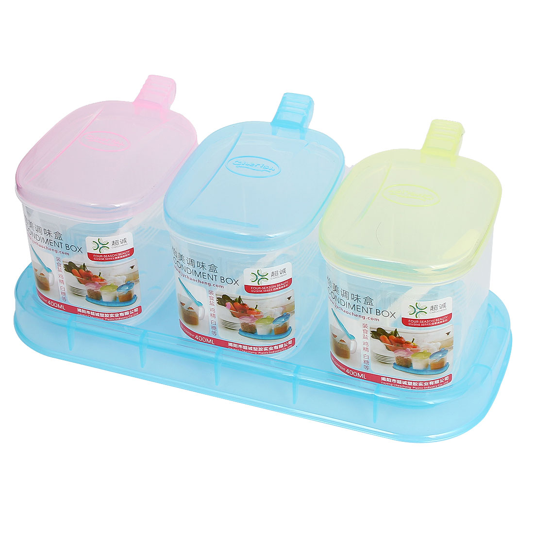 Kitchen Plastic 3 Compartments Condiment Holder Dispenser Tray Box Candy Color