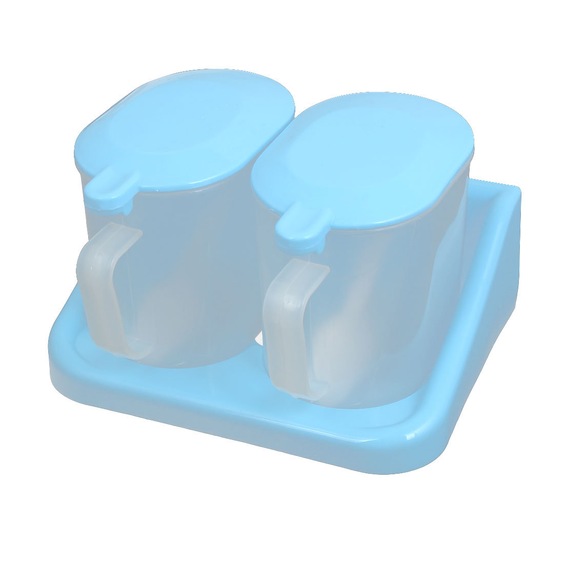Plastic Oval Shape 2 Compartments Condiment Holder Dispenser Tray Box Baby Blue