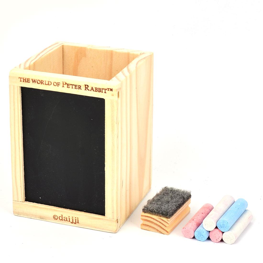 Office Wooden Square Pen Pencil Holder Desk Stationery Organizer Storage Box