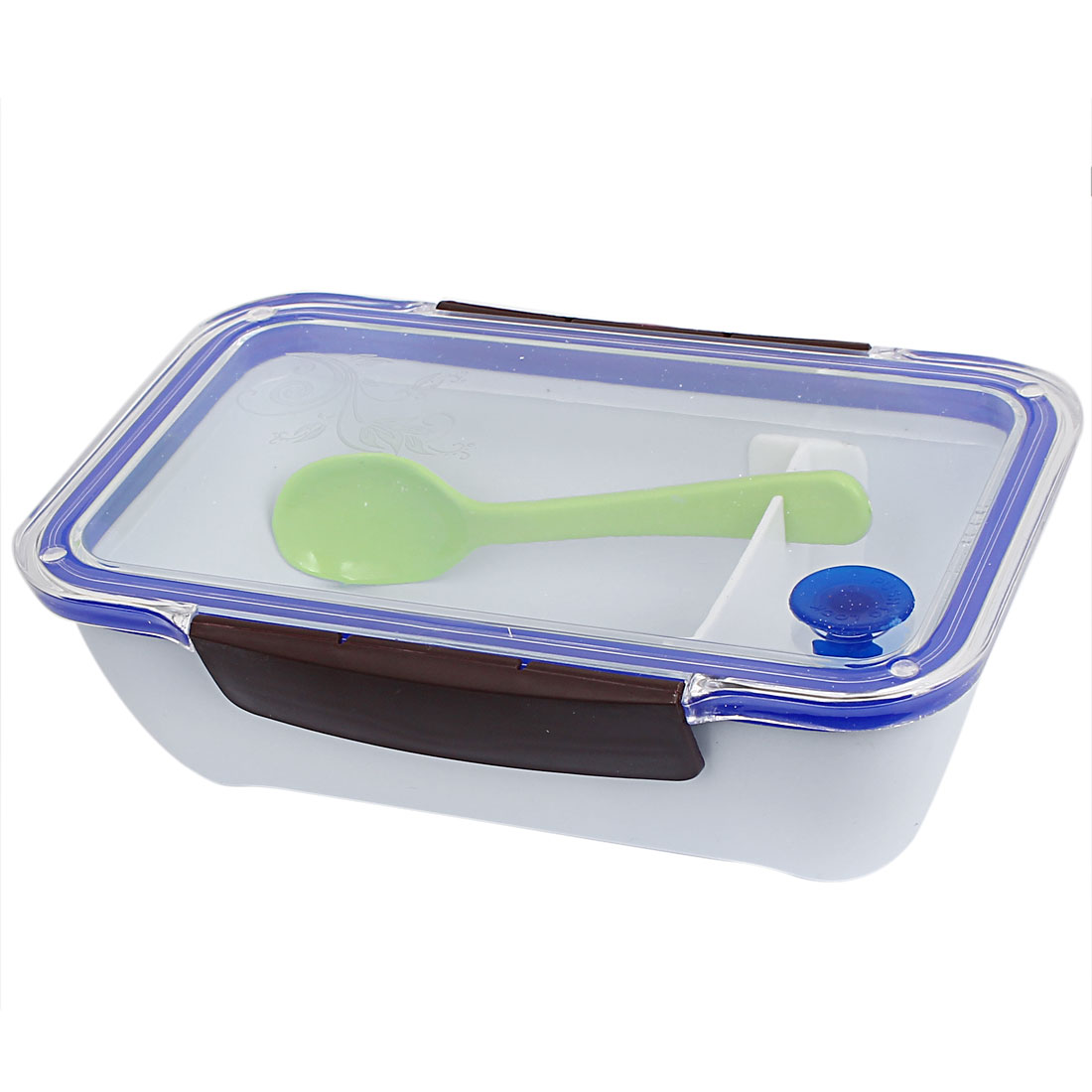 Picnic Plastic Rectangle Lunch Box Food Storage Container Blue Chocolate Color