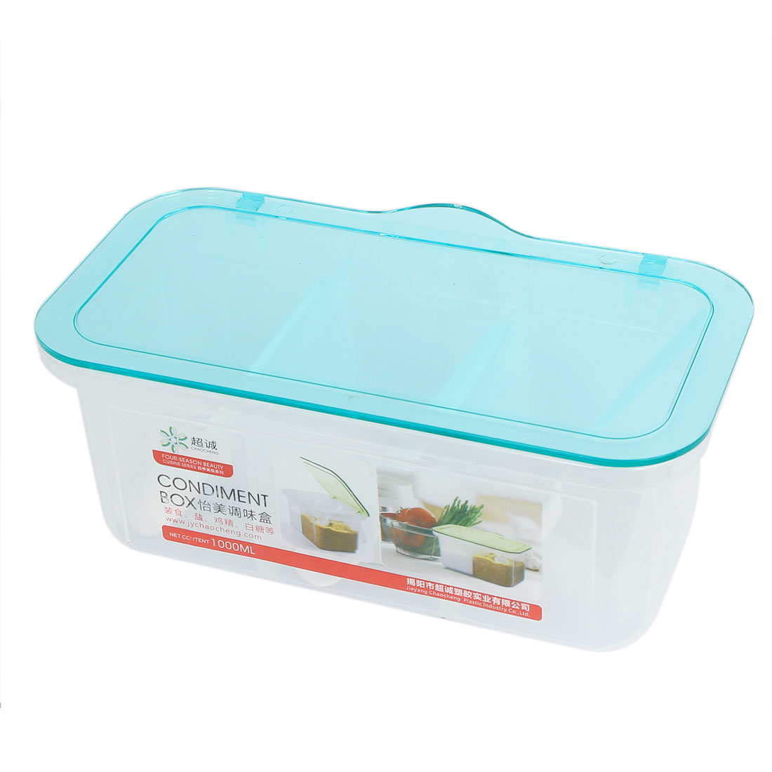Kitchen Plastic 3 Compartments Condiment Holder Dispenser Tray Box Clear Blue