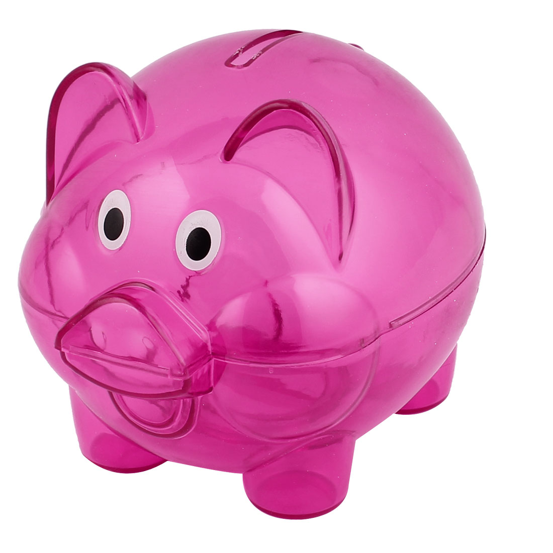 Xmas Gift Plastic Pig Shape Money Cash Saving Pot Coin Piggy Bank Clear Fuchsia