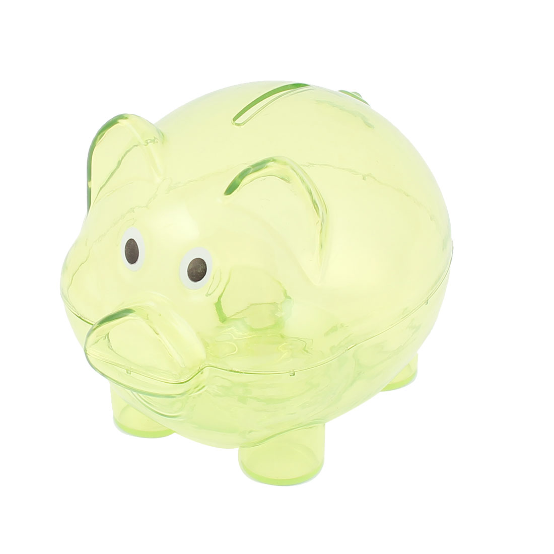 Plastic Pig Shaped Money Cash Penny Saving Pot Coins Piggy Bank Clear Green