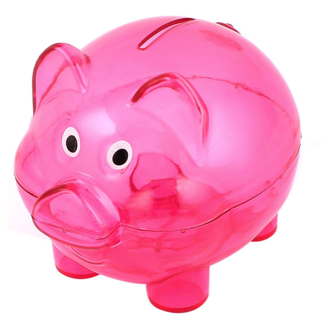 Plastic Pig Shape Money Cash Penny Saving Pot Coin Piggy Bank Clear Fuchsia