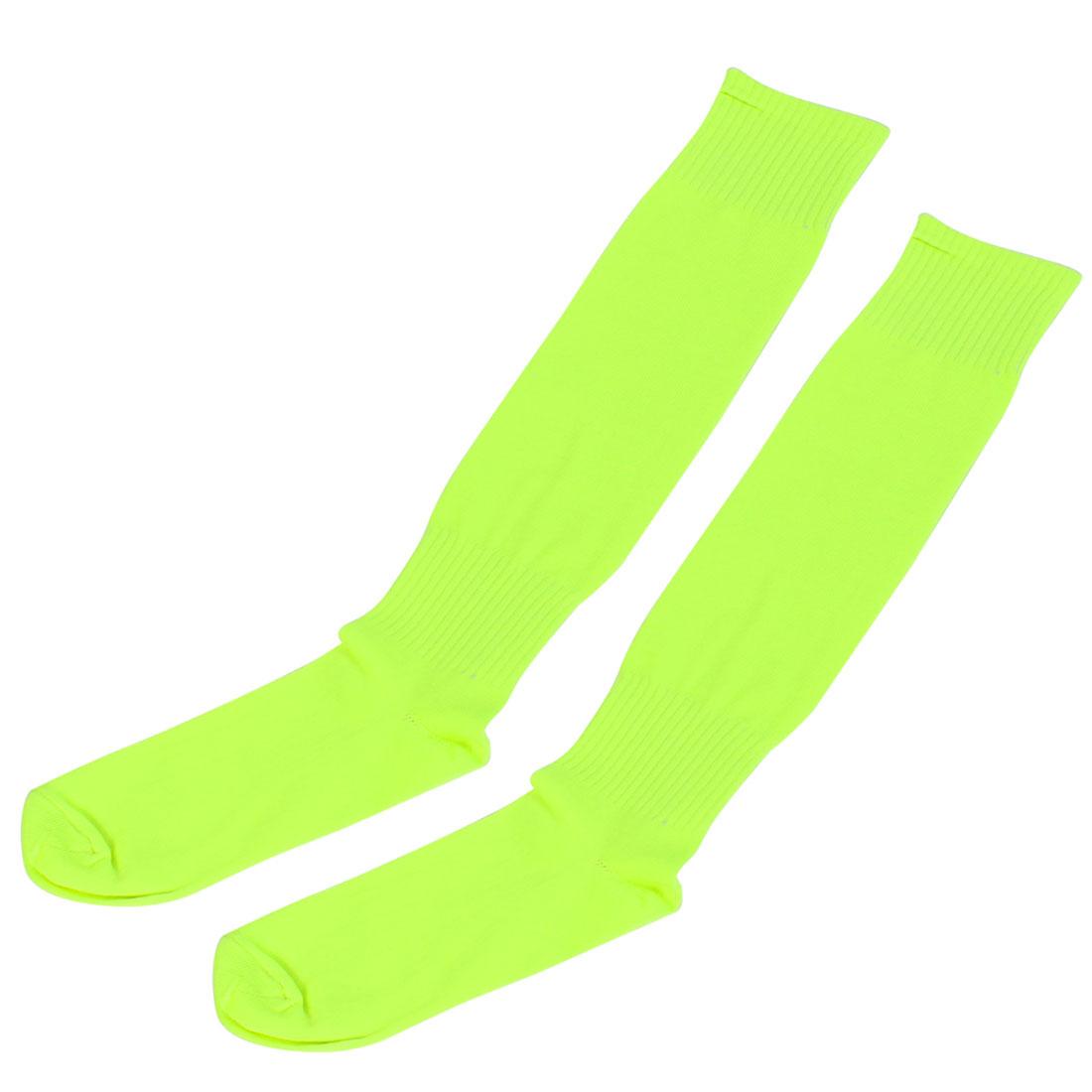 Men Sport Hockey Rugby Basketball Soccer Football Socks Pair Fluorescent Yellow