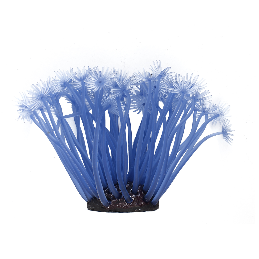 Aquarium Fish Tank Soft Silicone Artificial Anemone Coral Ornament Sky Blue