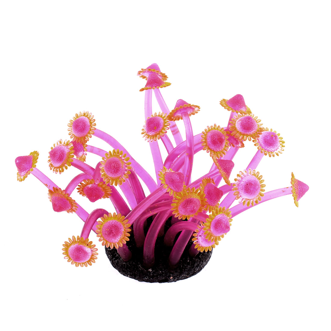 Aquarium Fish Tank Soft Silicone Emulation Anemone Coral Ornament Yellow Fuchsia