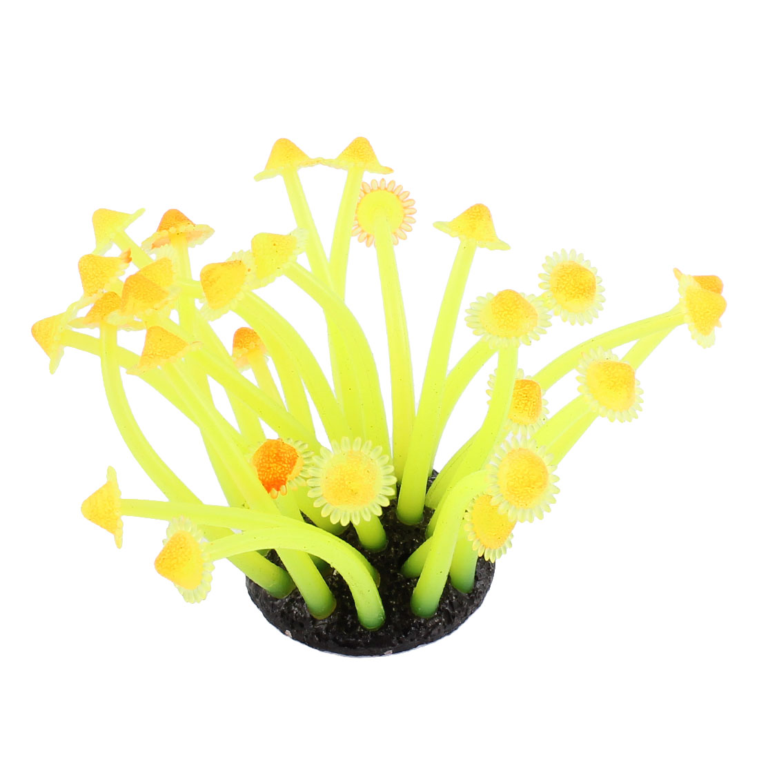 Aquarium Fish Tank Soft Silicone Emulation Anemone Coral Ornament Yellow Orange