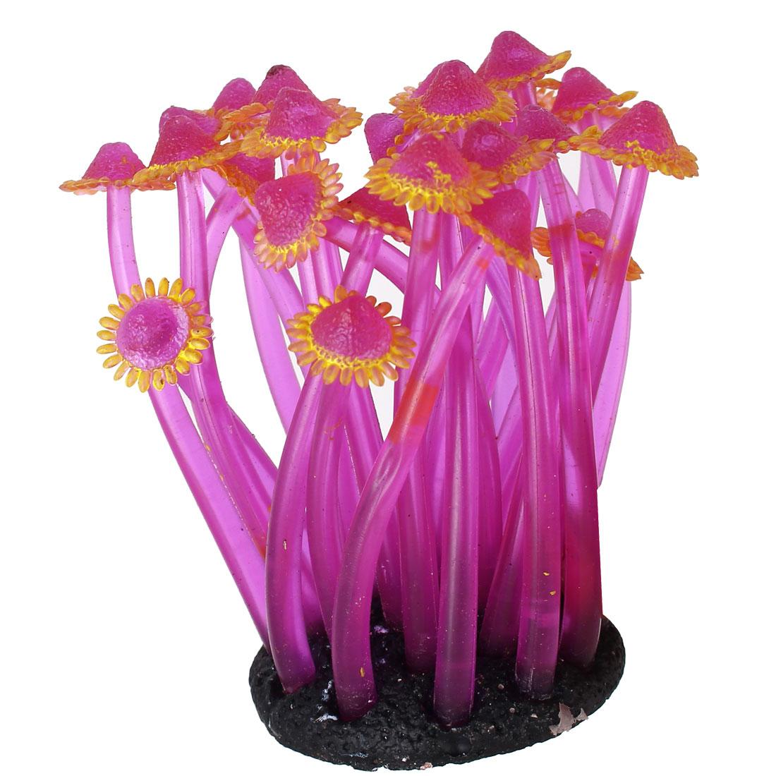 Aquarium Fish Tank Soft Silicone Artificial Anemone Coral Ornament Yellow Purple