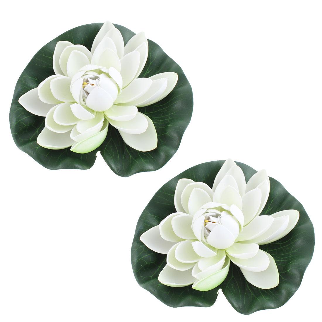 Aquarium Fish Tank Artificial Floating Lotus Flower Ornament 2 Pcs Green White
