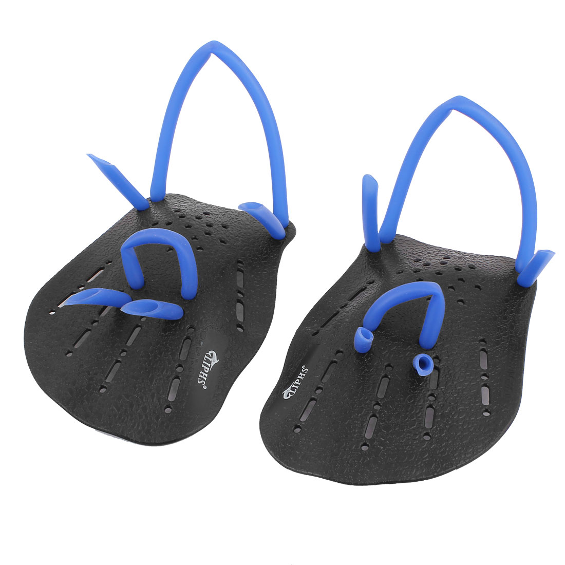 Training Aid Swimming Plastic Hand Paddles Webbed Gloves Pair Black Blue
