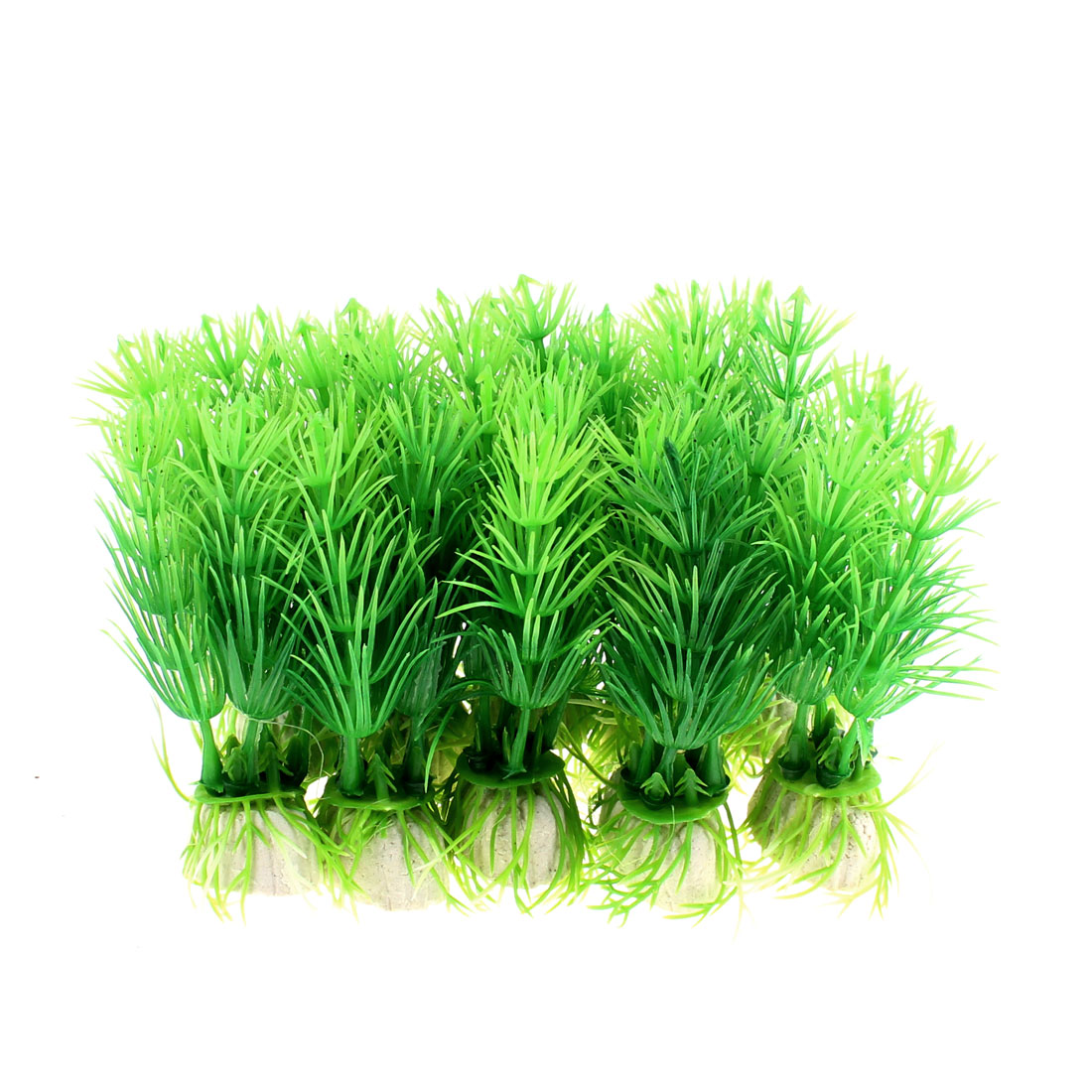 Aquarium Fish Tank Artificial Plastic Plant Water Grass Ornament 10 Pcs Green