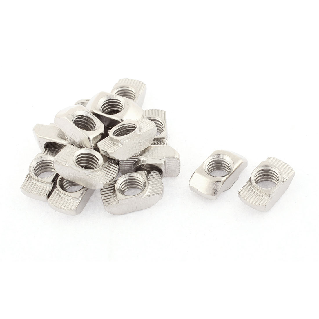 M8 Thread Dia Drop In Type T Slot Nuts Silver Tone 15pcs