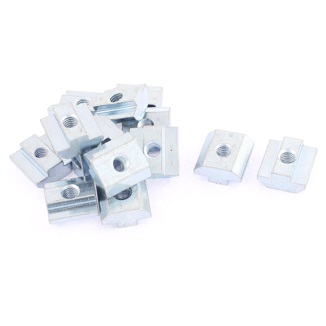 M6 Metal T-slot Nut Sliding Block Slot Nuts Silver Tone 15pcs