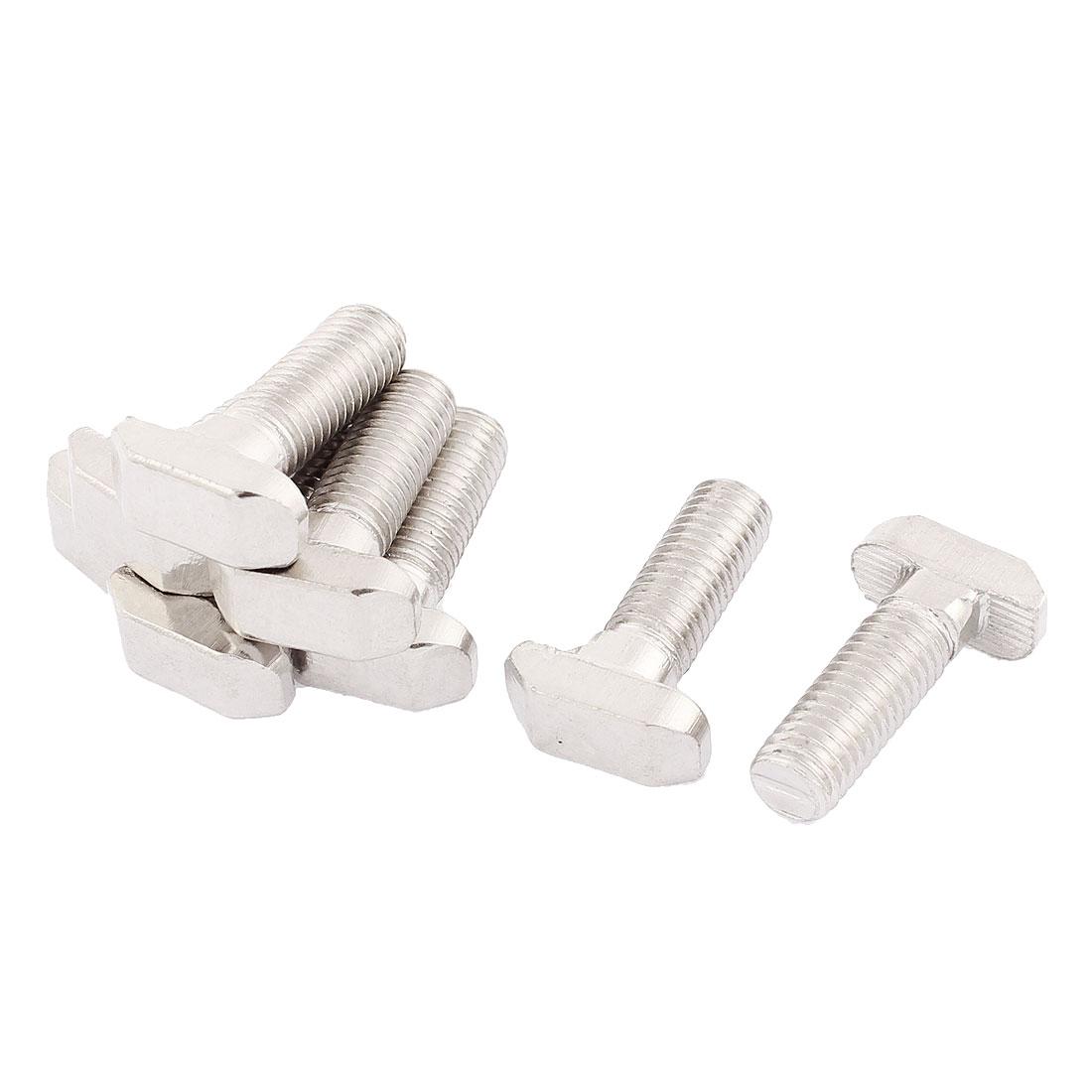 M8 Thread Metal T-Slot Drop-In Stud Sliding Screw Bolt Silver Tone 8pcs