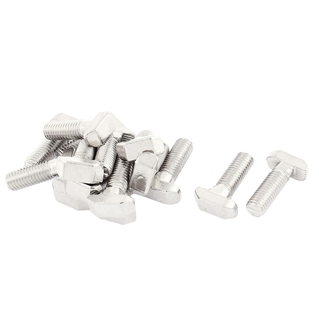 M8 Thread Metal T-Slot Drop-In Stud Sliding Screw Bolt Silver Tone 15pcs
