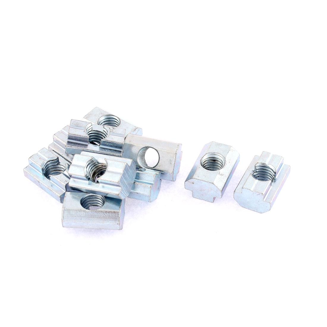 M8 Metal T-slot Nut Sliding Block Slot Nuts Silver Tone 10pcs