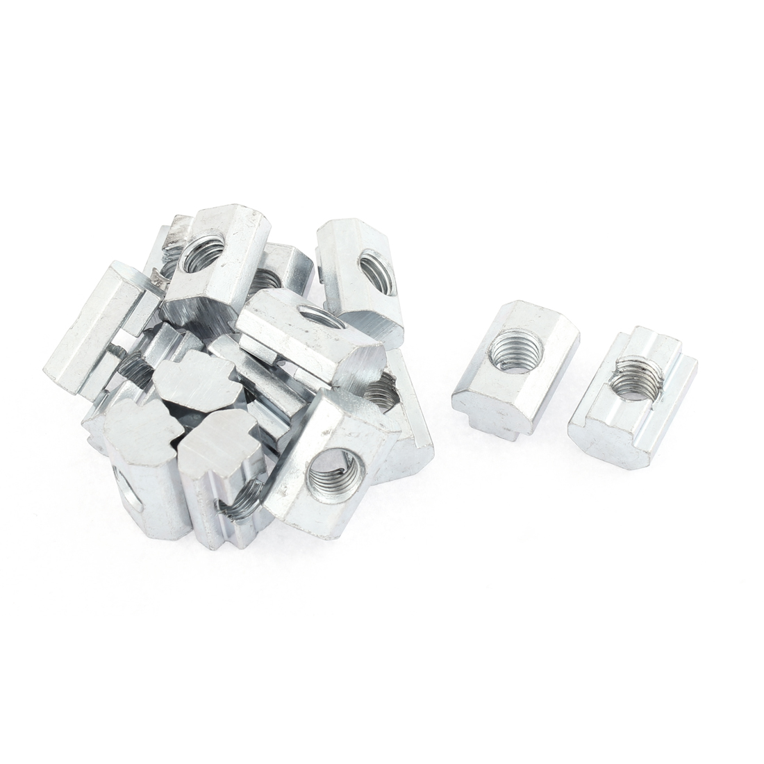 M8 Metal T-slot Nut Sliding Block Slot Nuts Silver Tone 15pcs