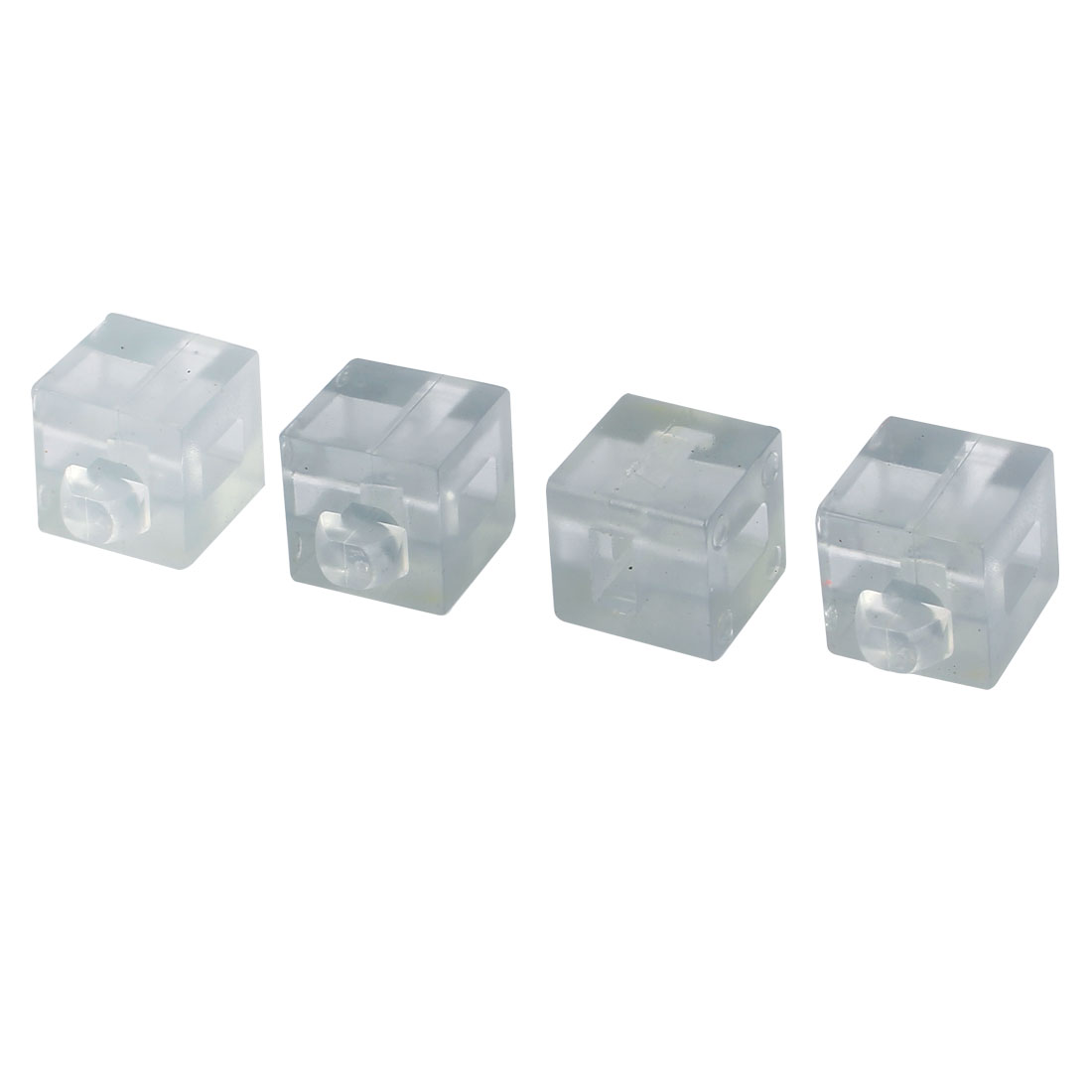 Aluminum Profile Glass Nylon Spacer Block Fastener Connector Clear 4pcs