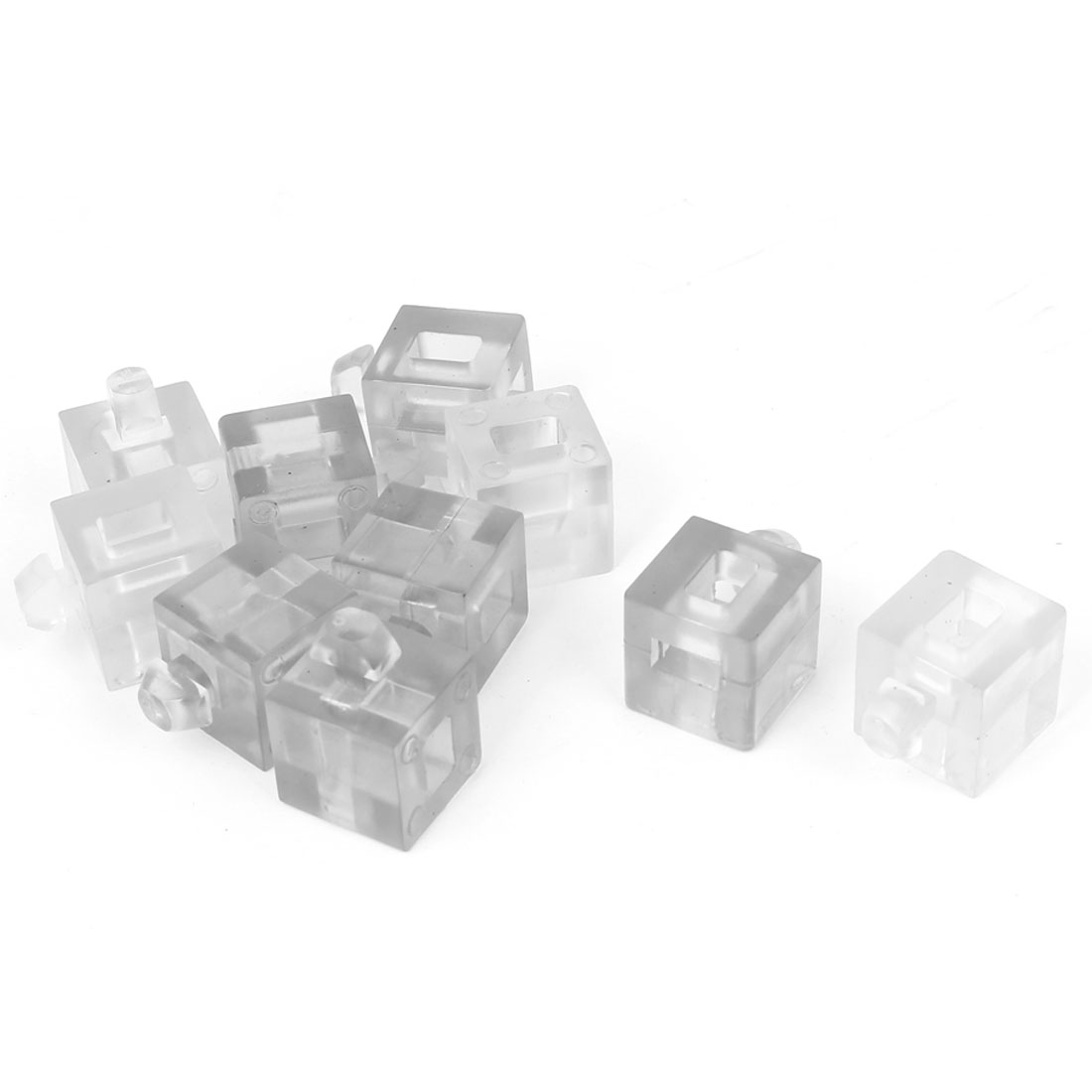 Aluminum Profile Glass Nylon Spacer Block Fastener Connector Clear 10pcs