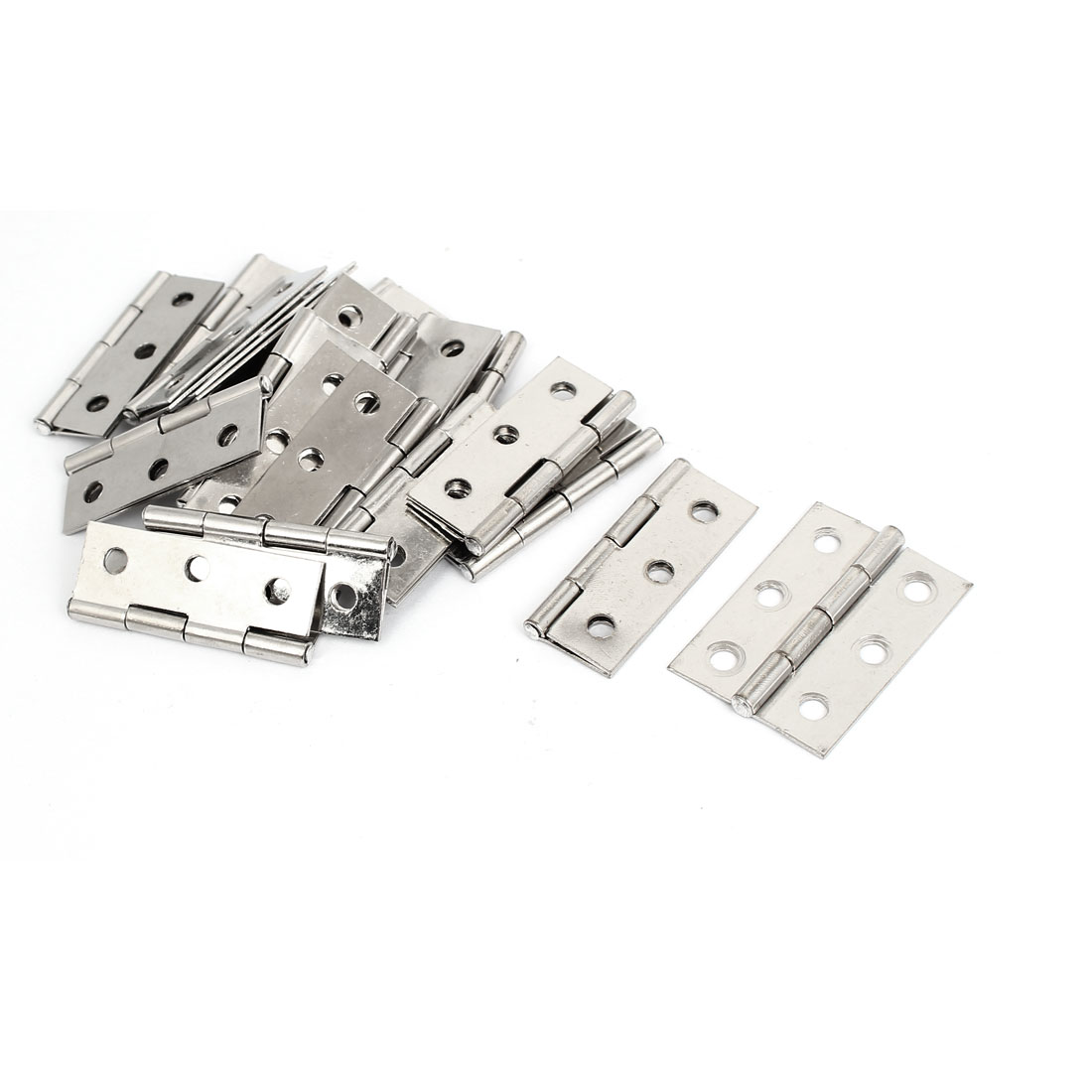 "Cabinet Closet Folding Stainless Steel Door Butt Hinge Hardware Silver Tone 2"" Long 20pcs"
