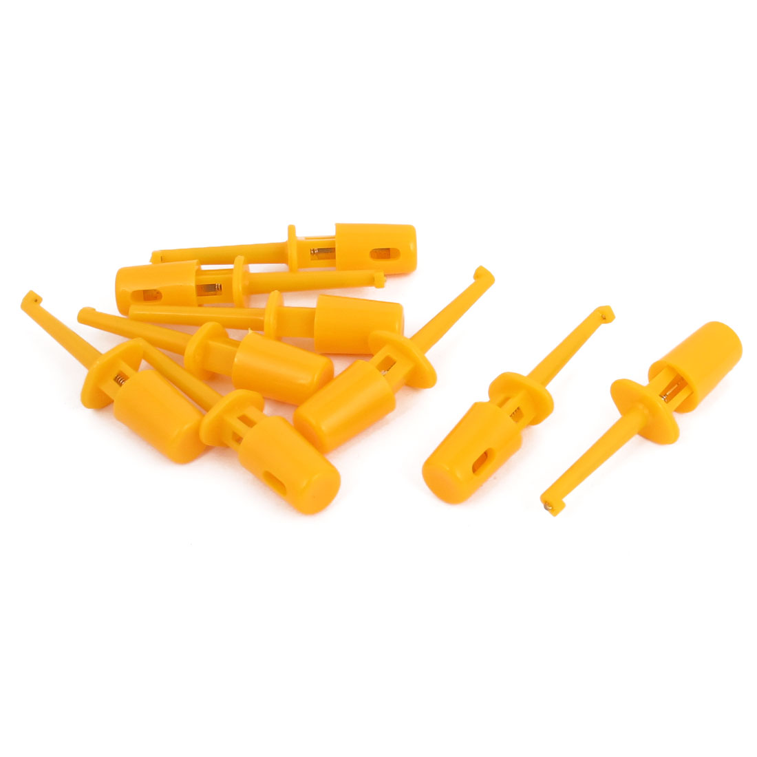 9pcs Plastic Coated Electrical Testing Lead Wire Hook Clip Connector Orange