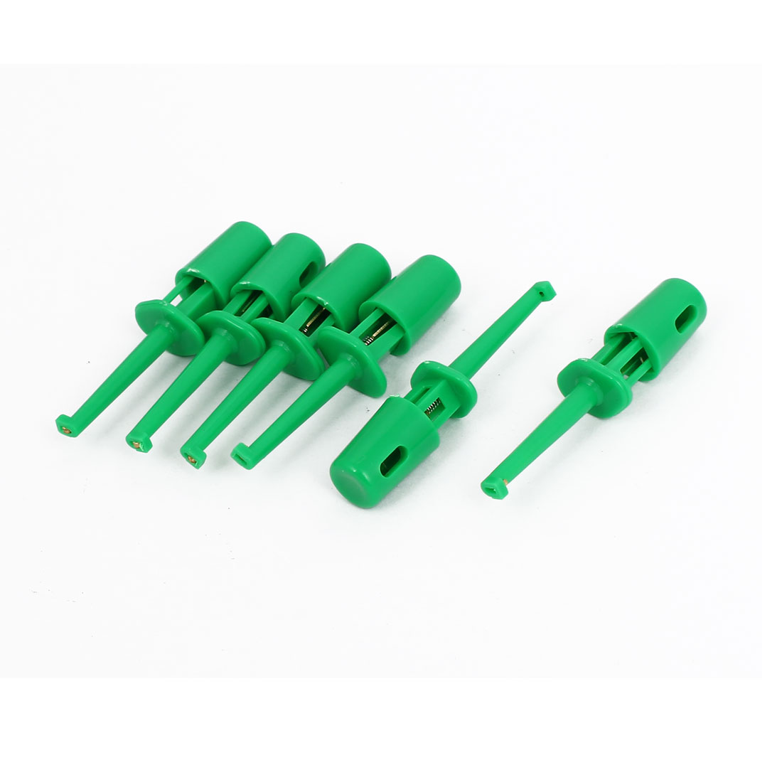 6pcs Plastic Covered Insulation Electrical Lead Wire Testing Hook Clip Green