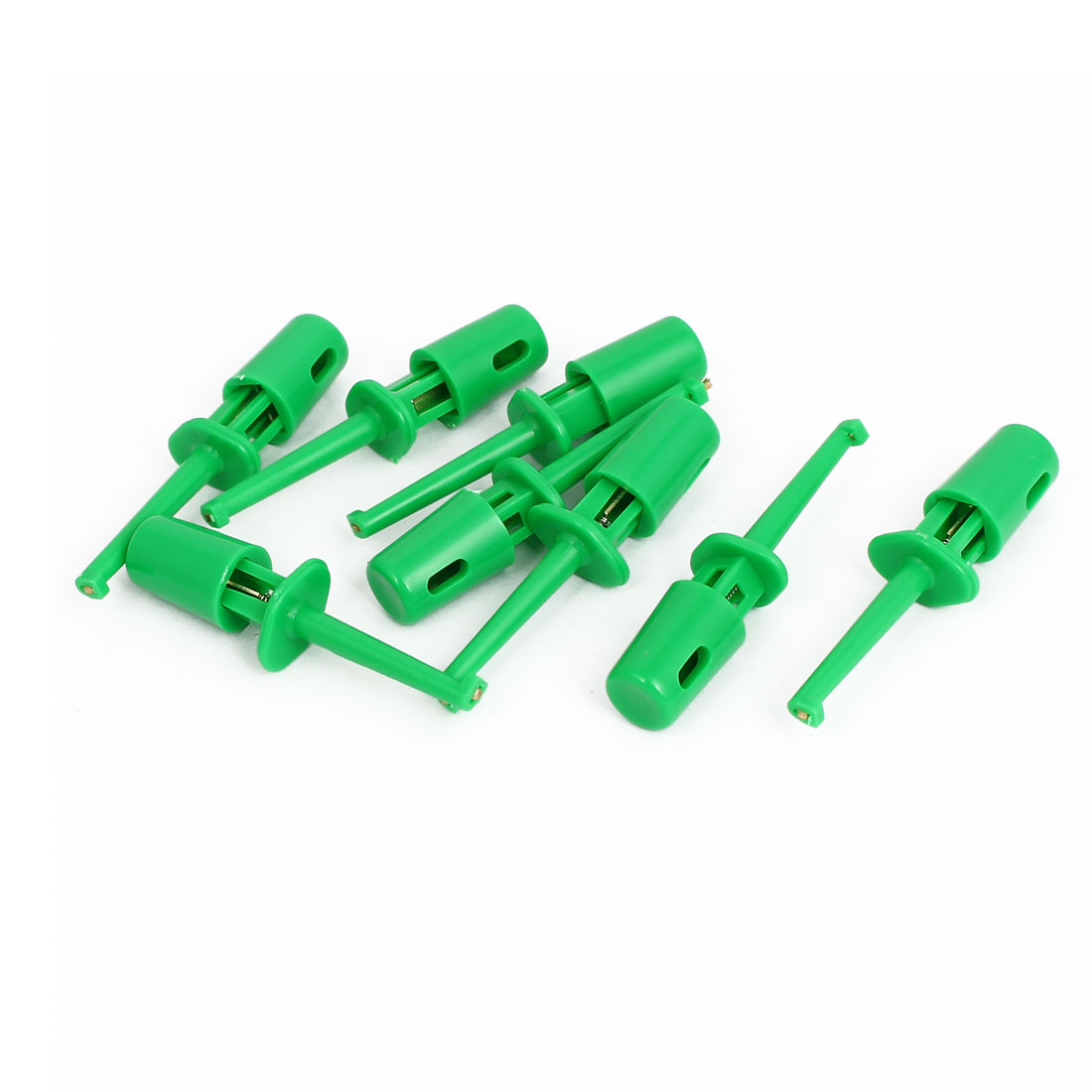 8pcs Plastic Covered Insulation Electrical Lead Wire Testing Hook Clip Green