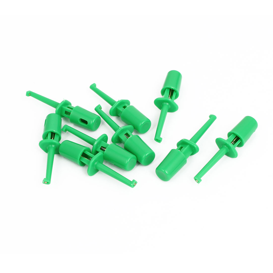 9pcs Plastic Covered Insulation Electrical Lead Wire Testing Hook Clip Green