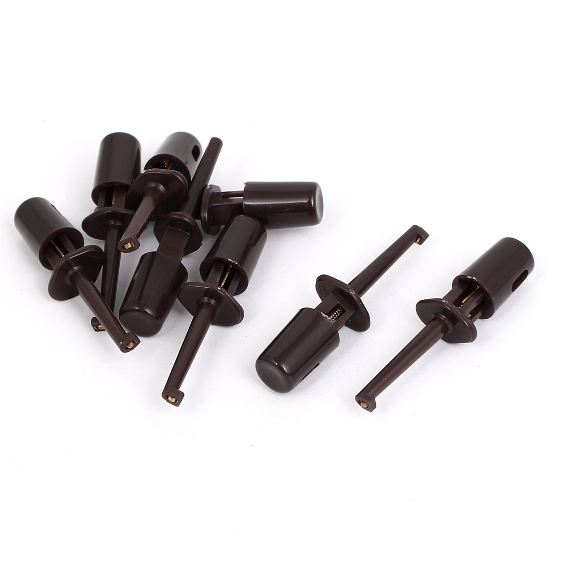 8pcs Plastic Covered Insulation Electrical Lead Wire Testing Hook Clip Brown