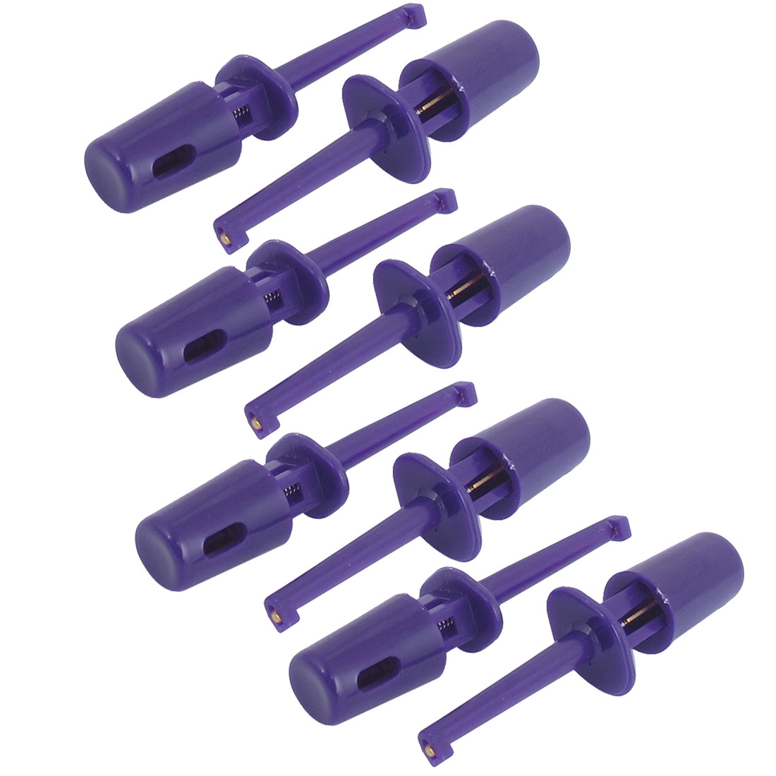 8pcs Plastic Shield Electrical Wire Testing Hook Clip Probes Purple