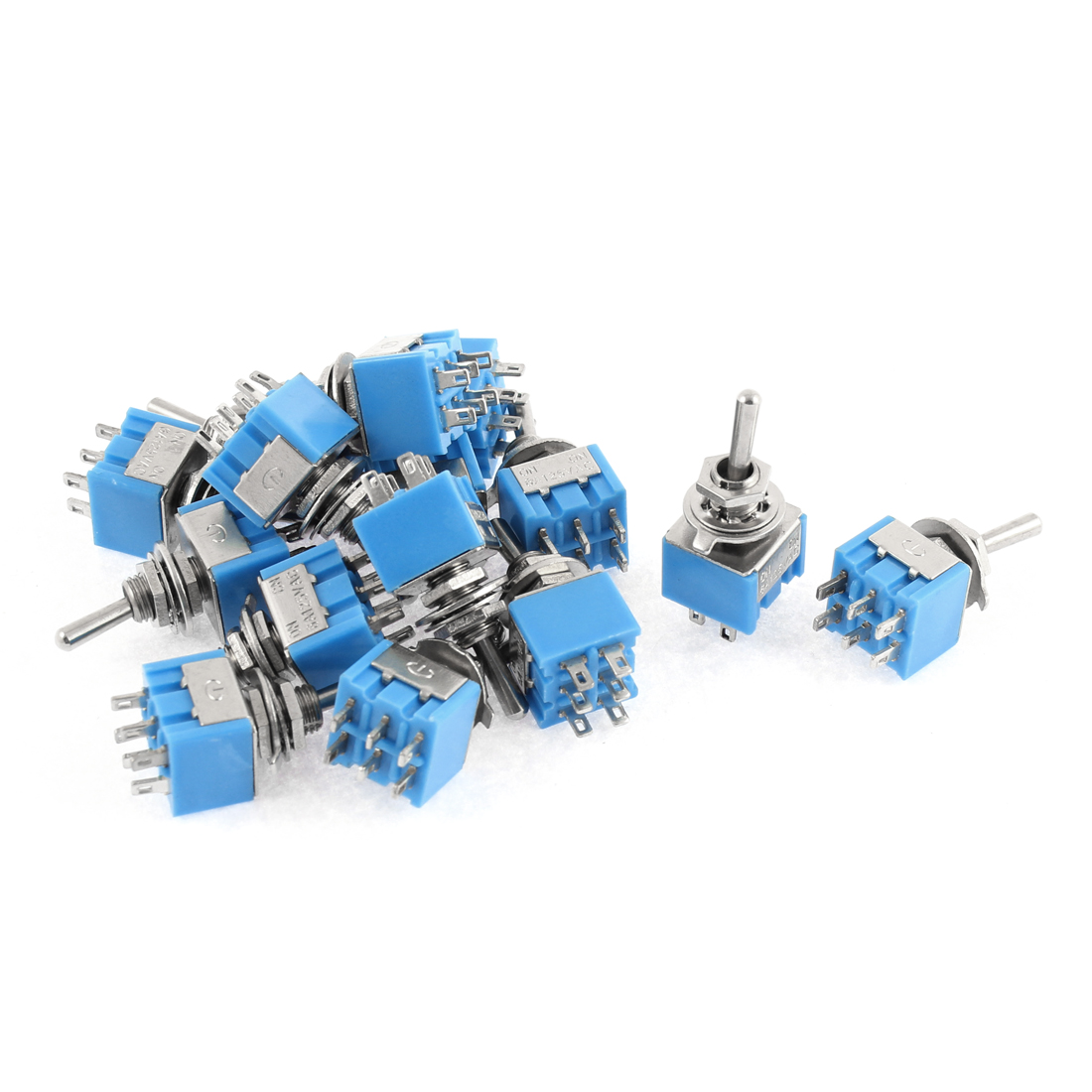 15pcs AC 125V 6A 6Pin 2 Positions ON-OFF 6mm Thread DPDT Latching Mini Toggle Switch Blue