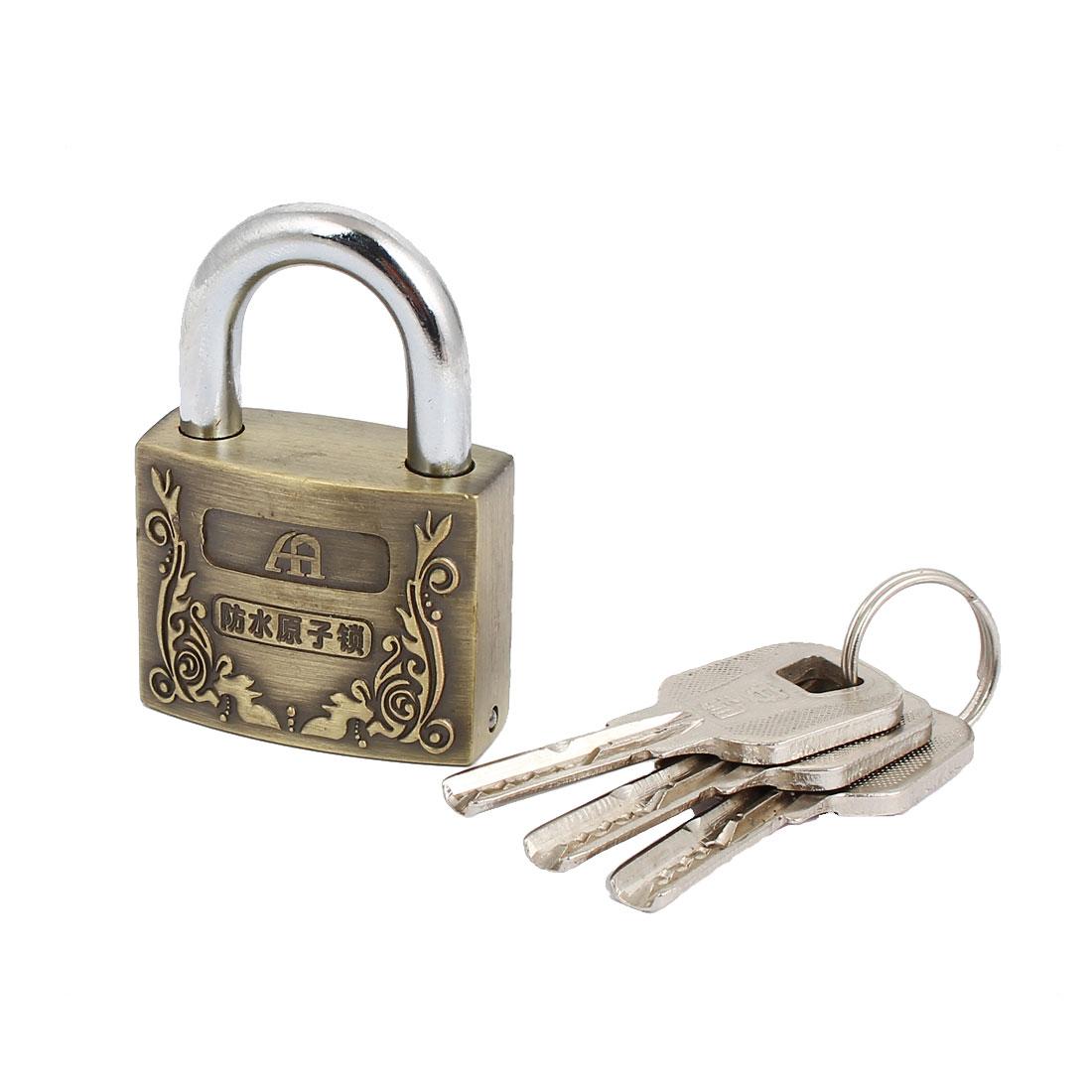 Cabinet Cupboard Alloy Security Padlock Lock 40mm Width 7mm Dia Shackle w 3 Keys