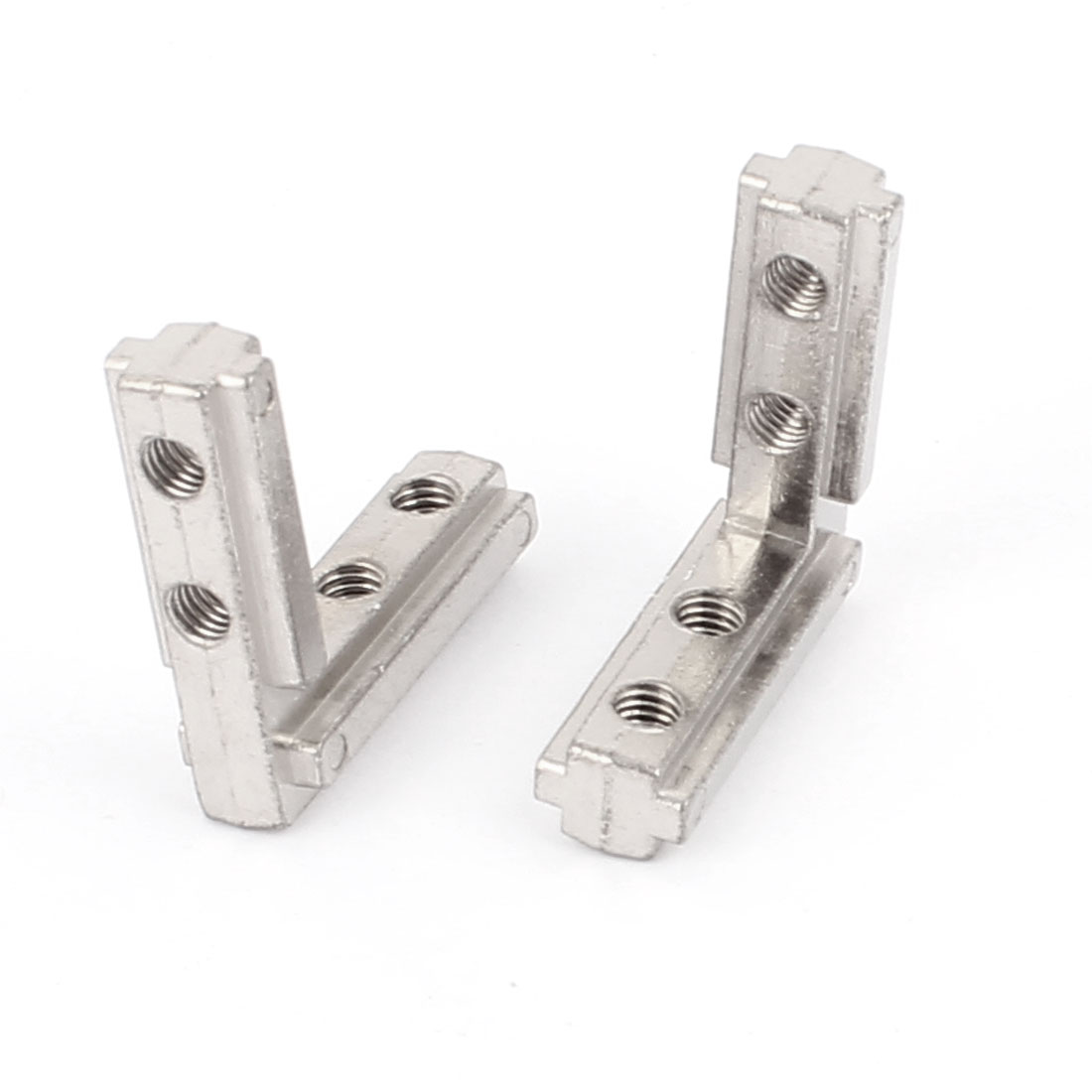 40mm x 40mm T Slot Right Angle Bracket Connector Silver Tone 2pcs