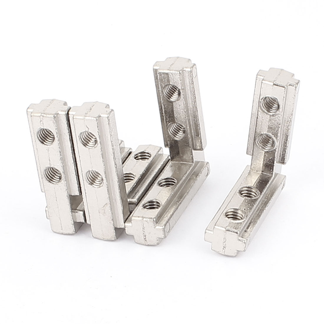 40mm x 40mm T Slot Right Angle Bracket Connector Silver Tone 4pcs