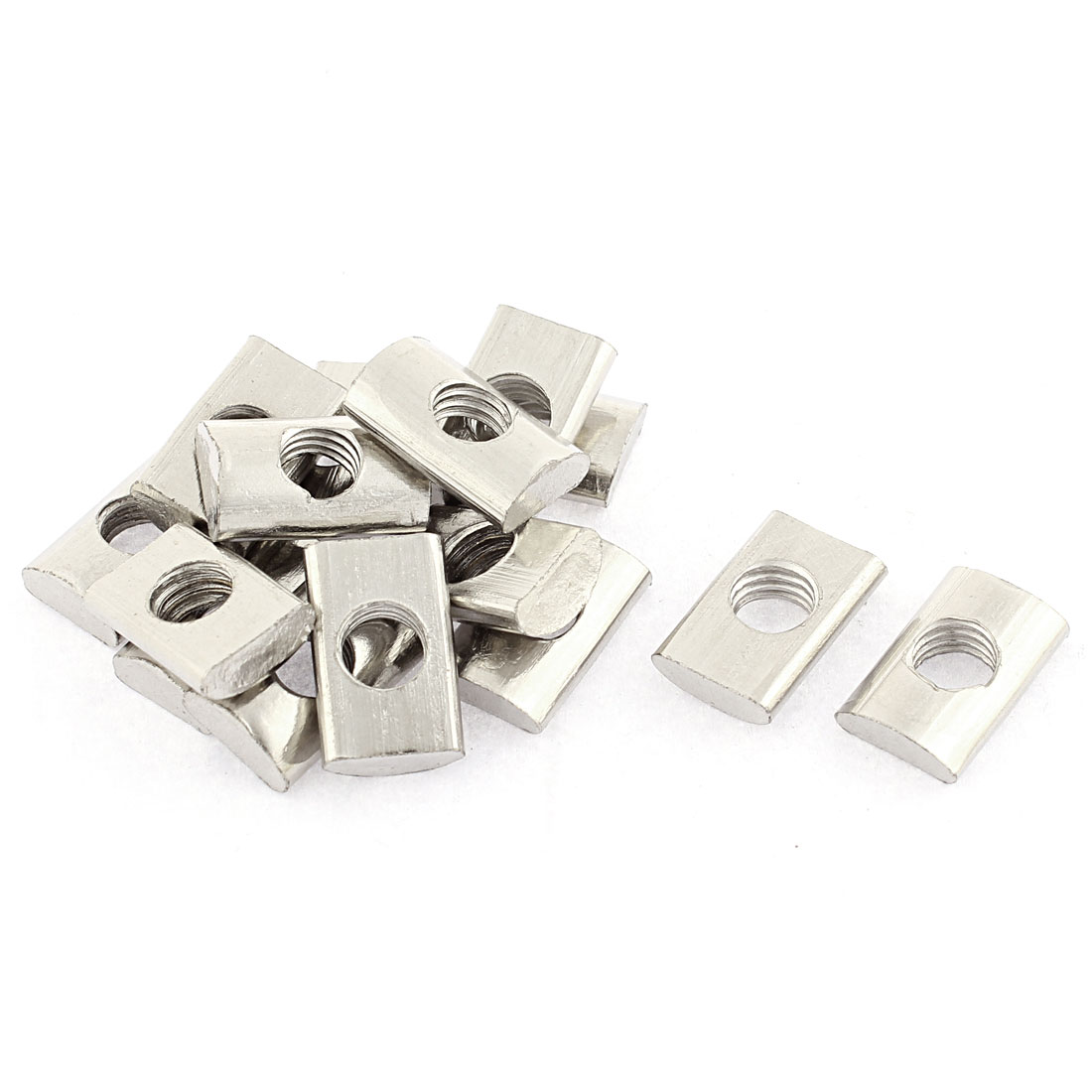 M8 Metal Half Round Roll in T-slot Nut Silver Tone 15pcs