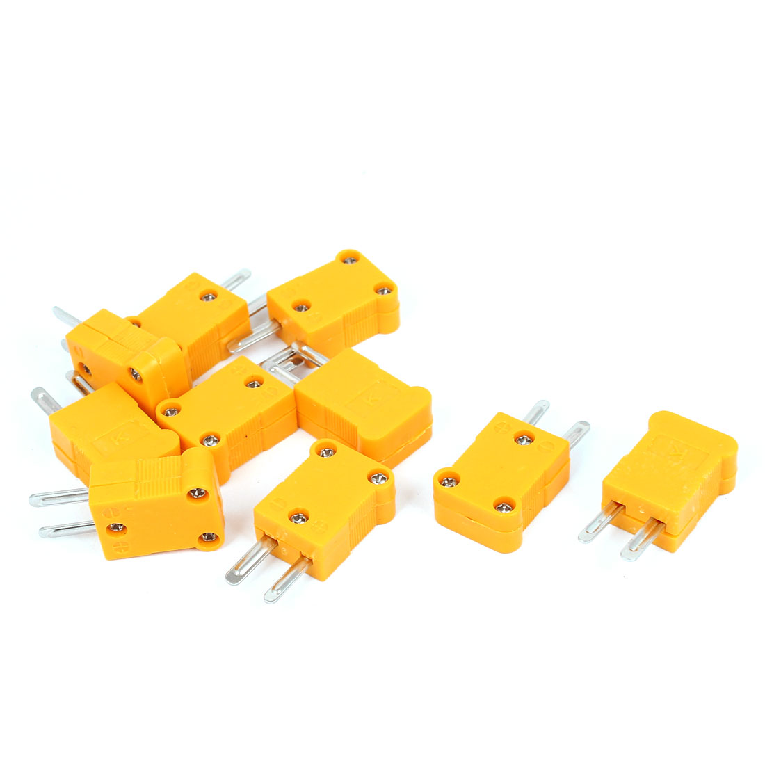 10pcs K Type Thermocouple Temperature Sensor Plug Wire Cable Male Connector Yellow