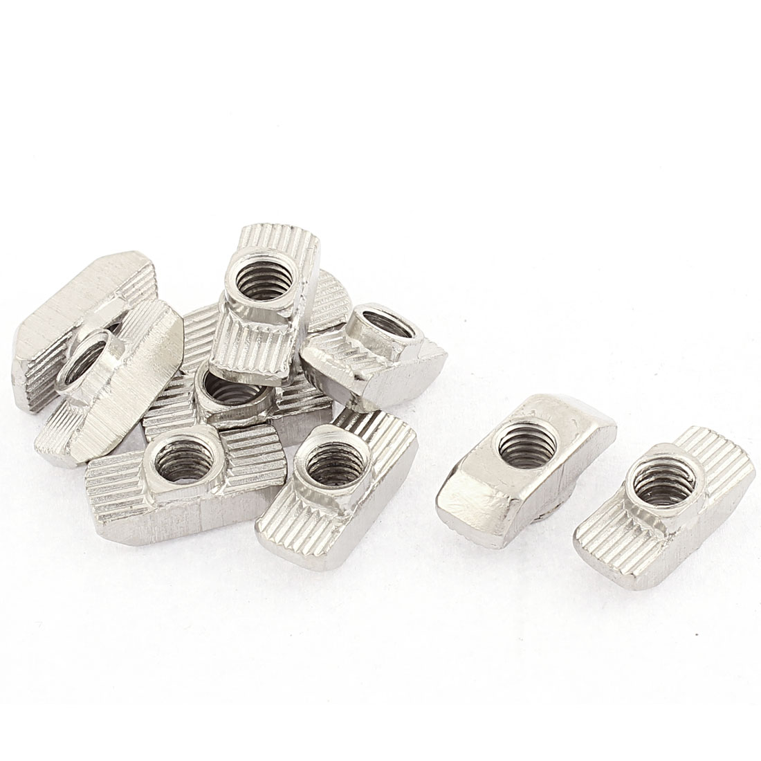 M6 Thread Dia Drop In Type T Slot Nuts Silver Tone 10pcs