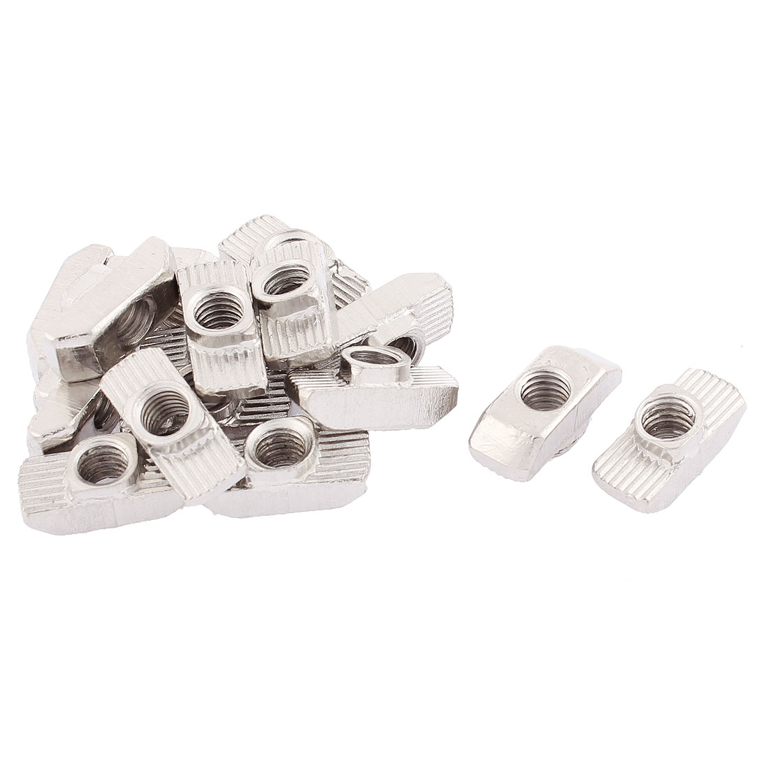 M6 Thread Dia Drop In Type T Slot Nuts Silver Tone 16pcs