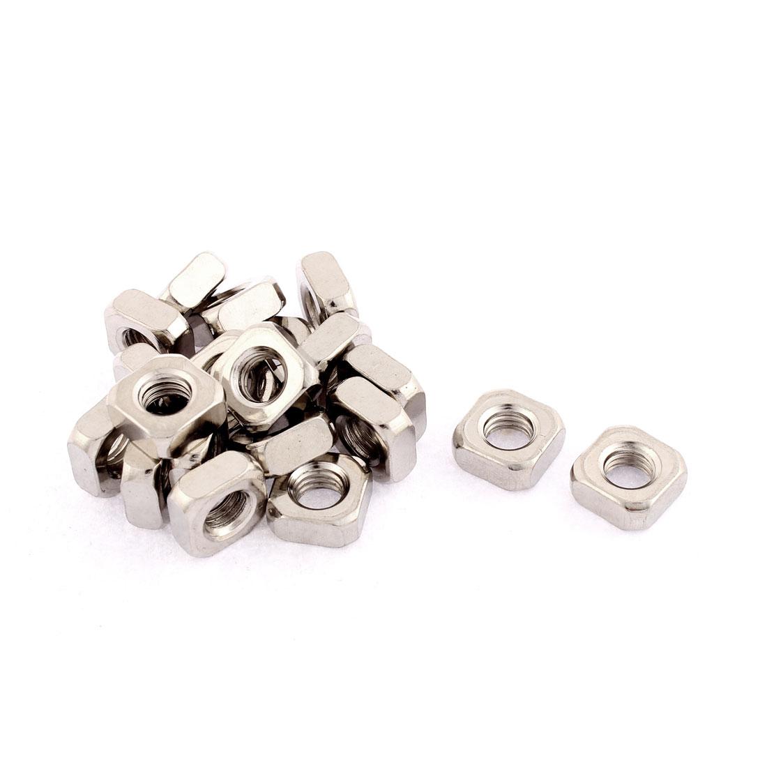 M8x14mmx6mm Metal Square Machine Screw Nuts Silver Tone 20pcs
