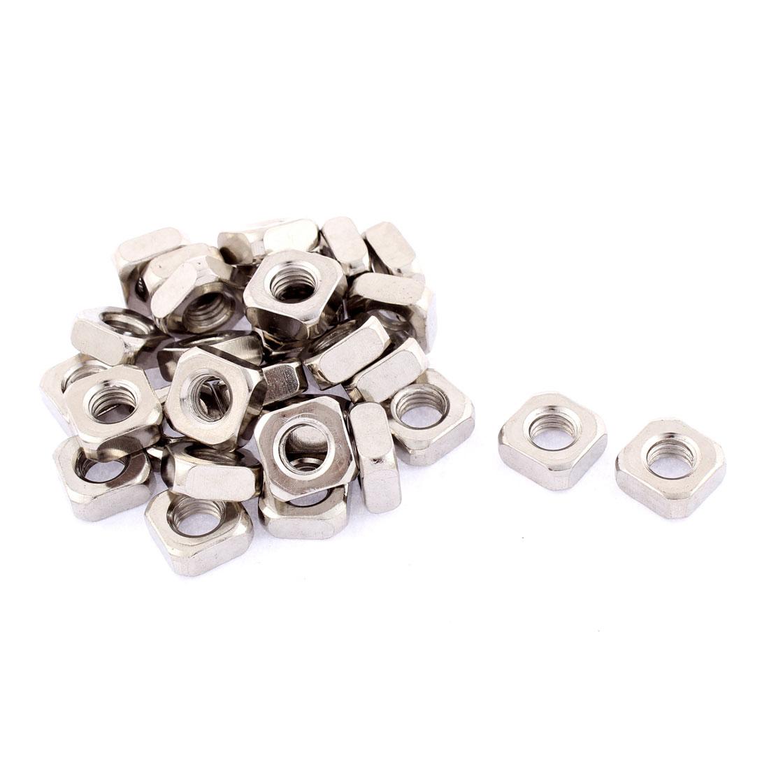 M8x14mmx6mm Metal Square Machine Screw Nuts Silver Tone 30pcs