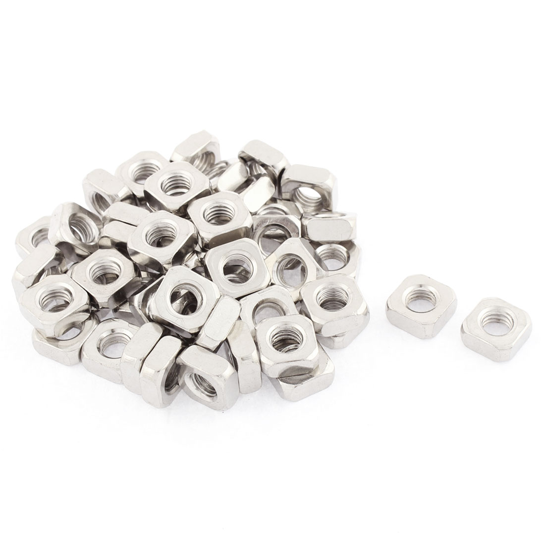M8x14mmx6mm Metal Square Machine Screw Nuts Silver Tone 50pcs