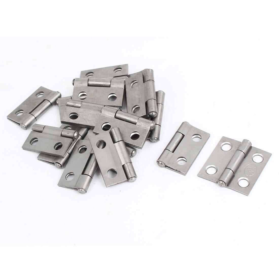 "Cupboard Cabinet Furniture Hardware Folding Door Butt Hinges Silver Gray 1"" Long 16pcs"