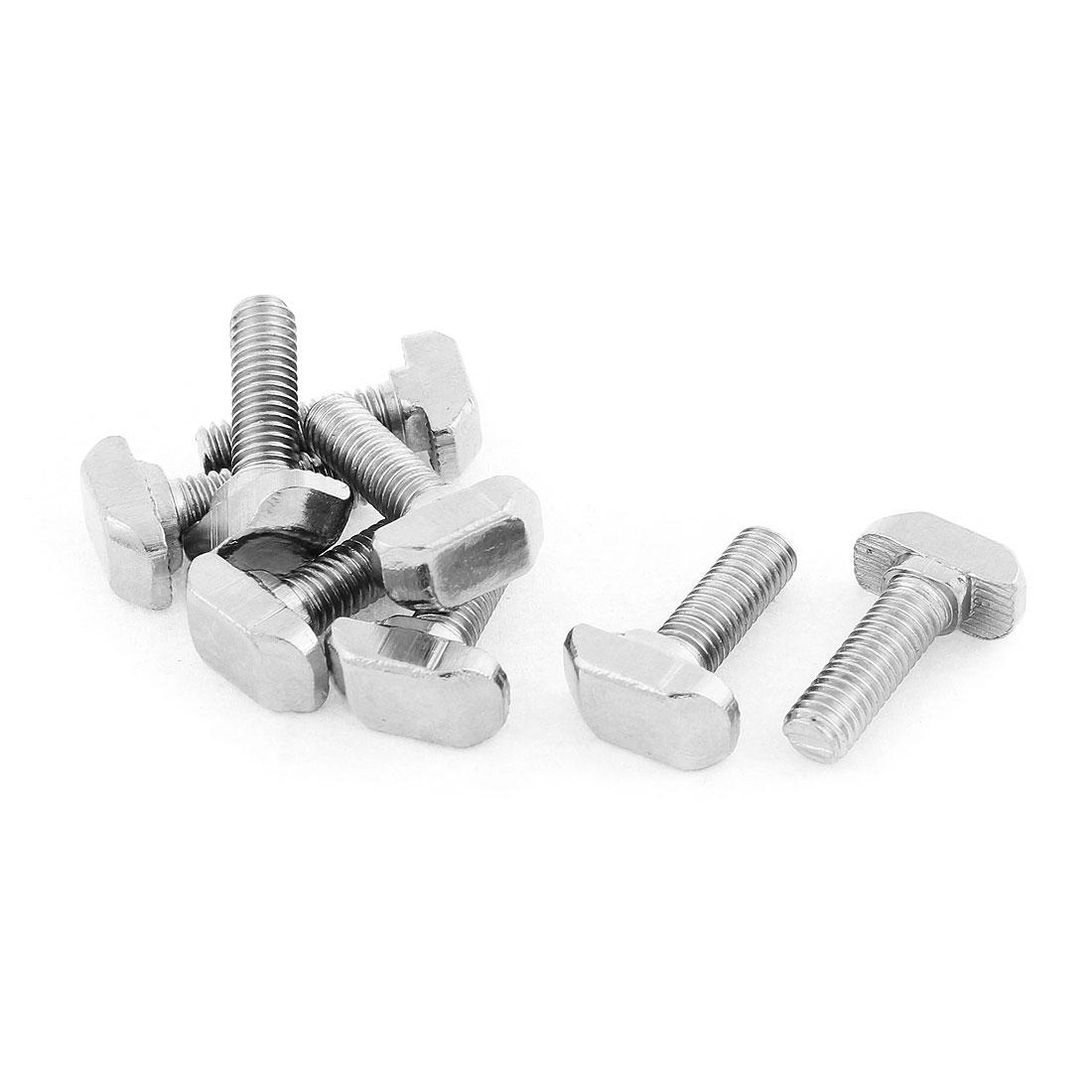 M6 Thread Metal T-Slot Drop-In Stud Sliding Screw Bolt Silver Tone 8pcs