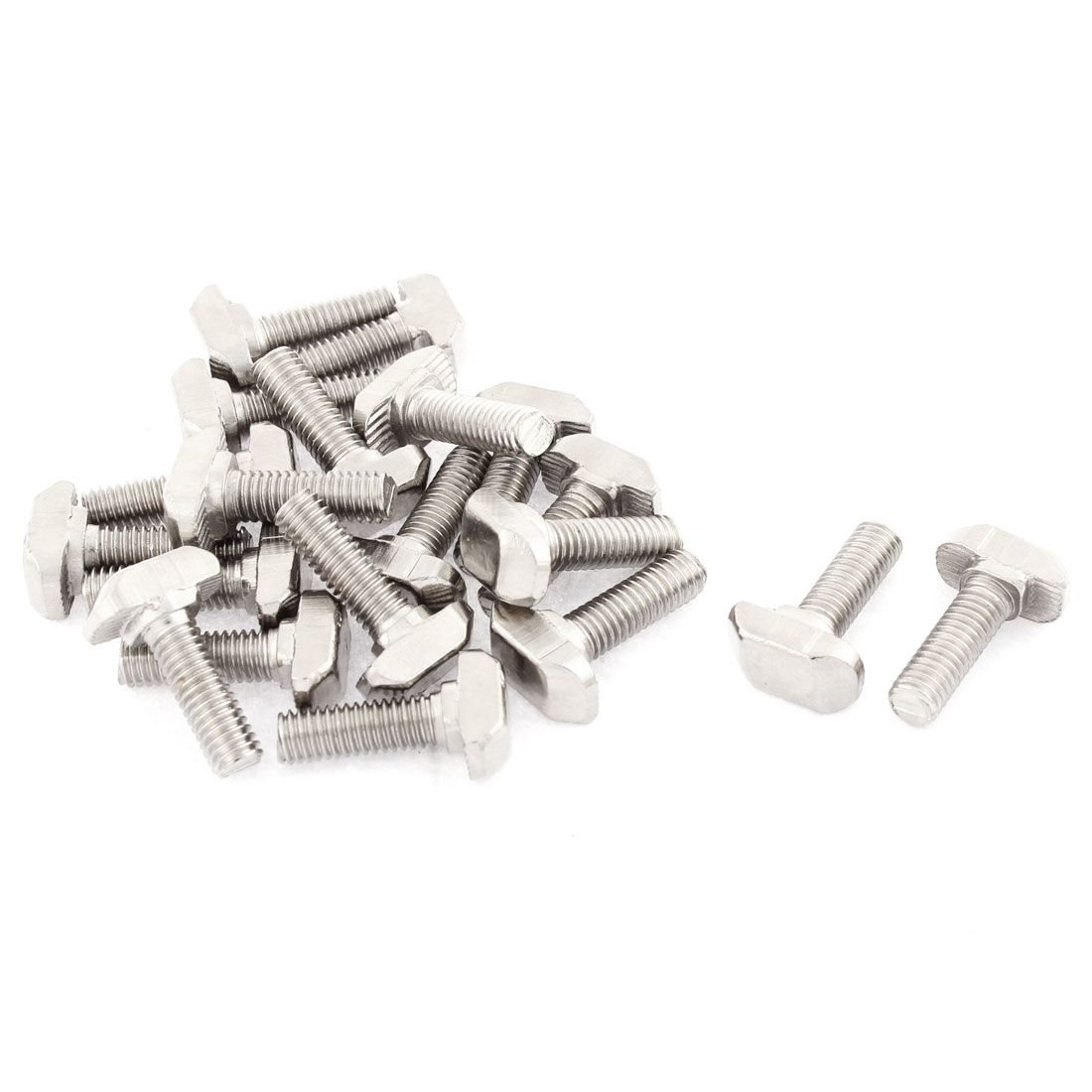 M6 Thread Metal T-Slot Drop-In Stud Sliding Screw Bolt Silver Tone 20pcs