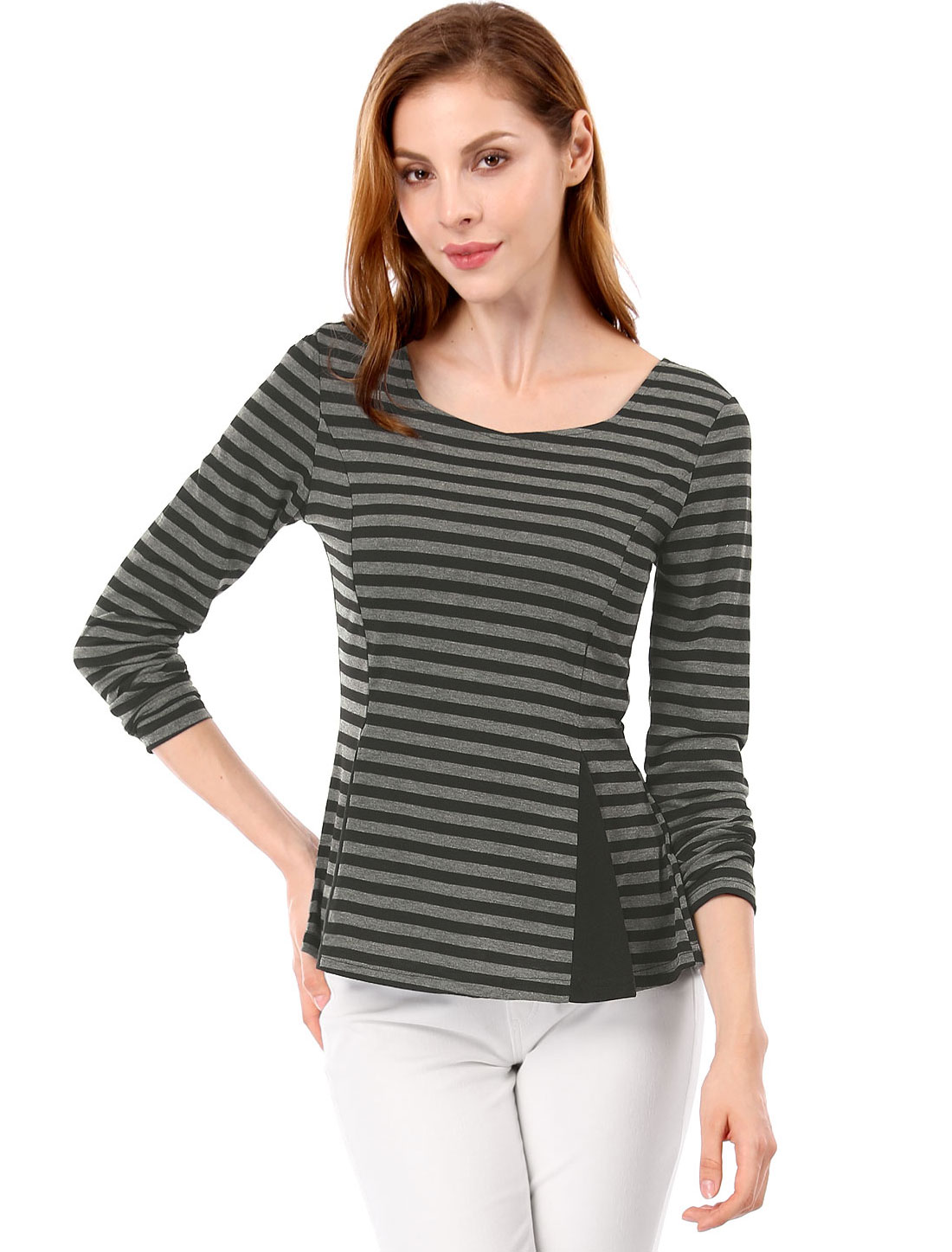Ladies Scoop Neck Bar Striped Panel Design Peplum Top Black Gray L