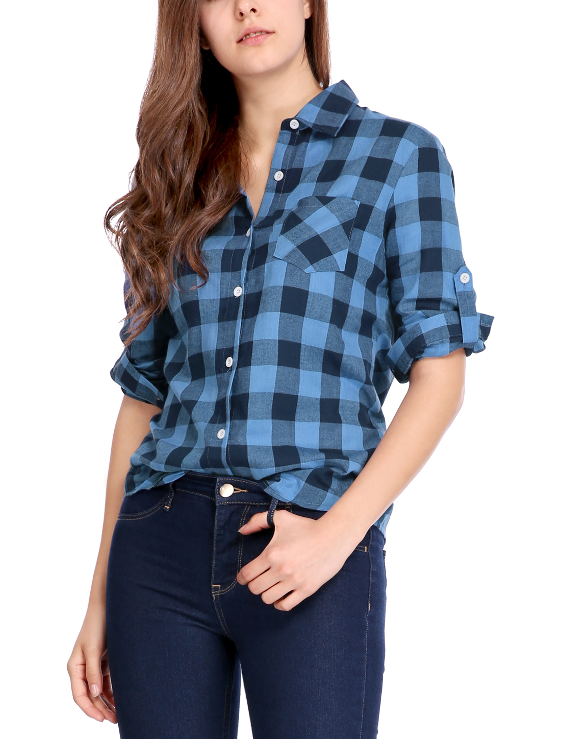 Woman Roll Up Sleeves Button Closed Casual Plaid Shirt Black Blue XL