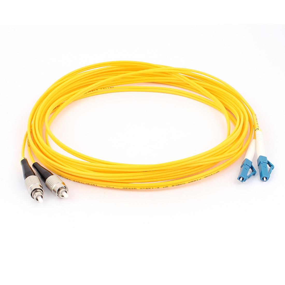 5M Jumper Cable Duplex Singlemode LC-FC Fiber Optic Patch Cord