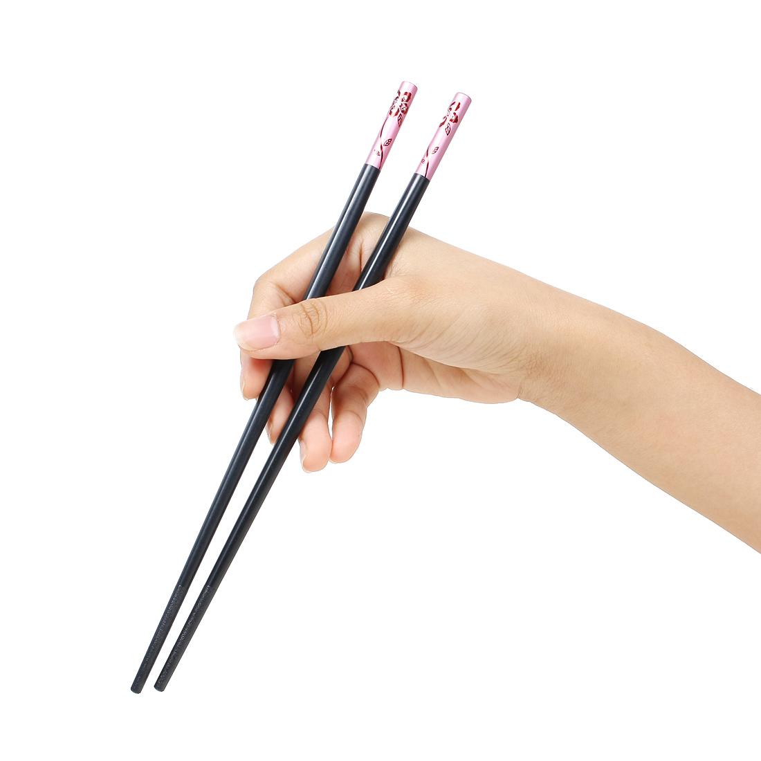 Casa-J Plastic Faux Rhinestone Flower Decor Home Tableware Chopsticks Pair Pink