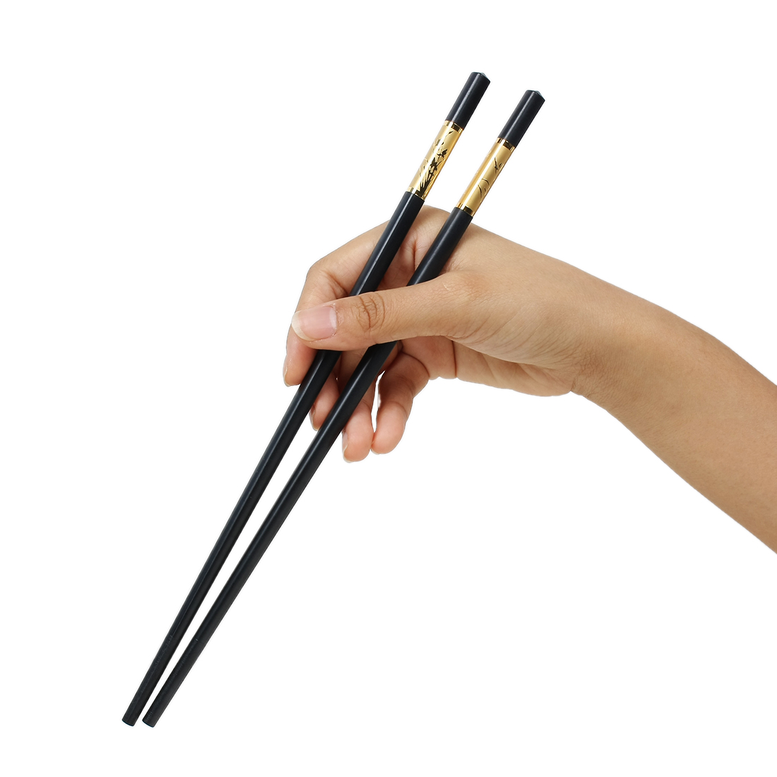 Casa-J Plastic Flower Printed Chinese Chopsticks Pair Black Gold Tone